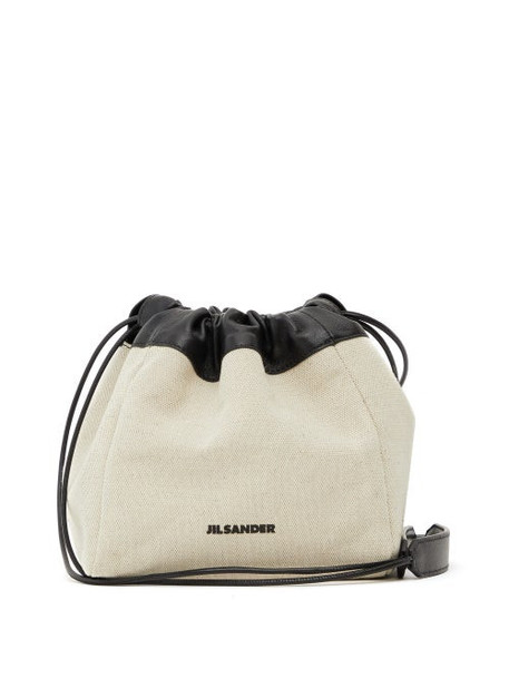 Jil Sander - Leather-trimmed Canvas Drawstring Bag - Womens - White Multi