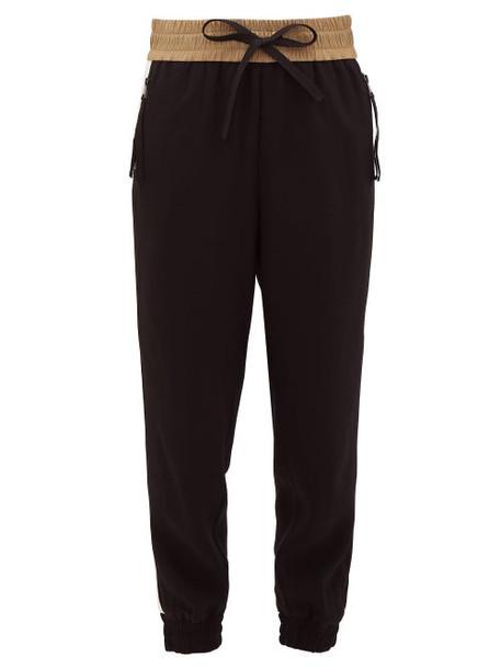 Moncler - Grosgrain-trimmed Crepe Track Pants - Womens - Black Multi