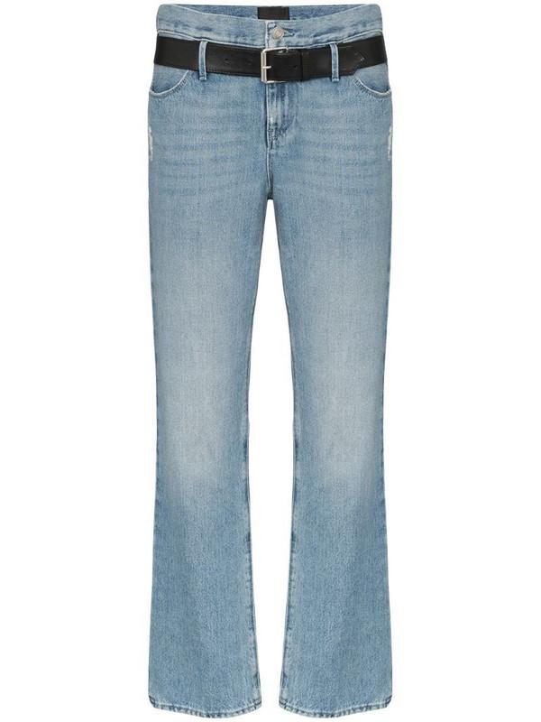 RtA Dexter belted straight leg jeans in blue