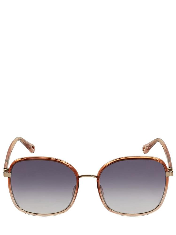 CHLOÉ Franky Oversize Squared Sunglasses in blue / orange