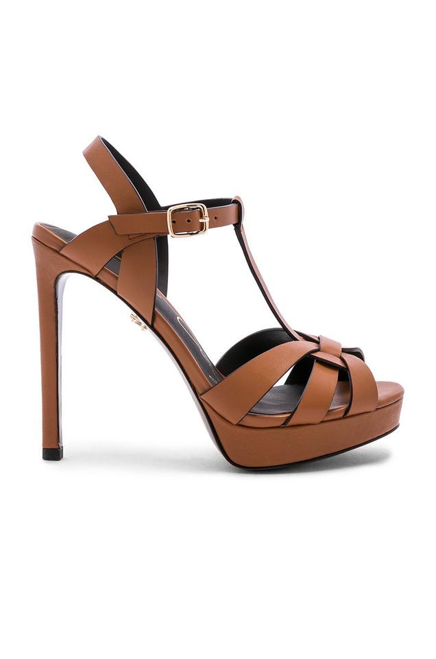 Lola Cruz Ankle Strap Heel in brown