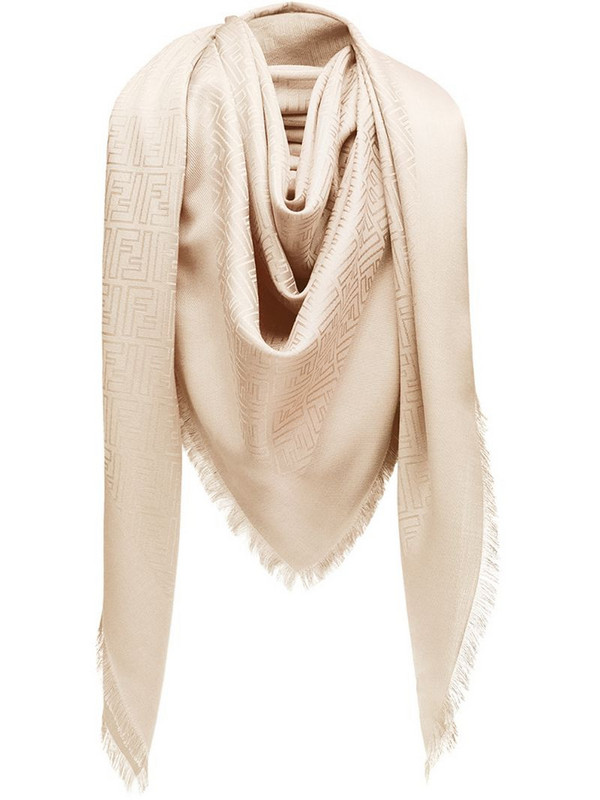Fendi monogram print scarf in neutrals