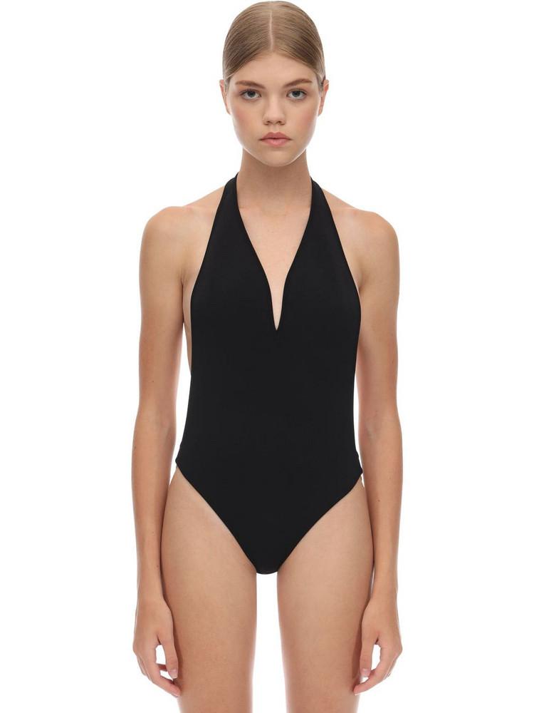ELIE SAAB Deep V Bodysuit W/ Metal Rings in black