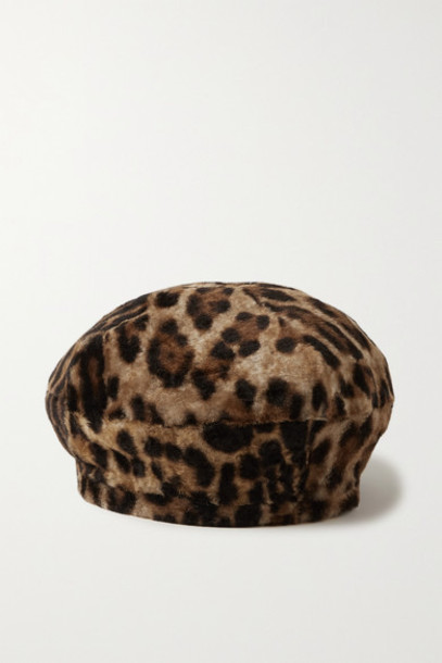 Yves Salomon - Leopard-print Shearling Beret - Leopard print