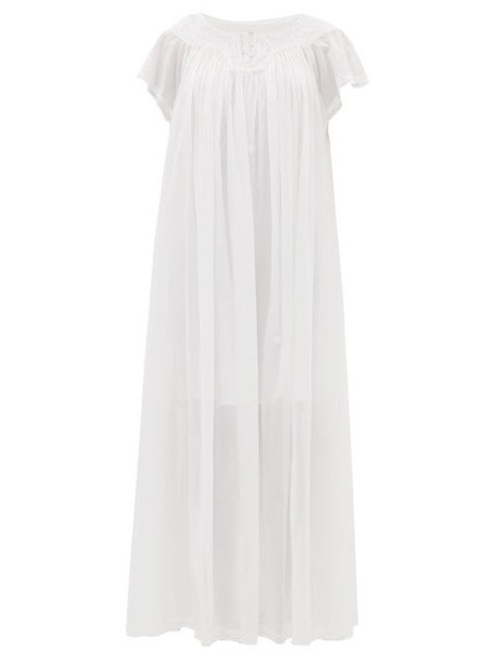 Thierry Colson - Tabitha Floral-embroidered Cotton-voile Maxi Dress - Womens - White