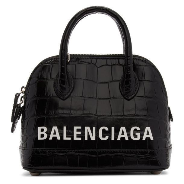 Balenciaga Black XXS Croc Ville Top Handle Bag