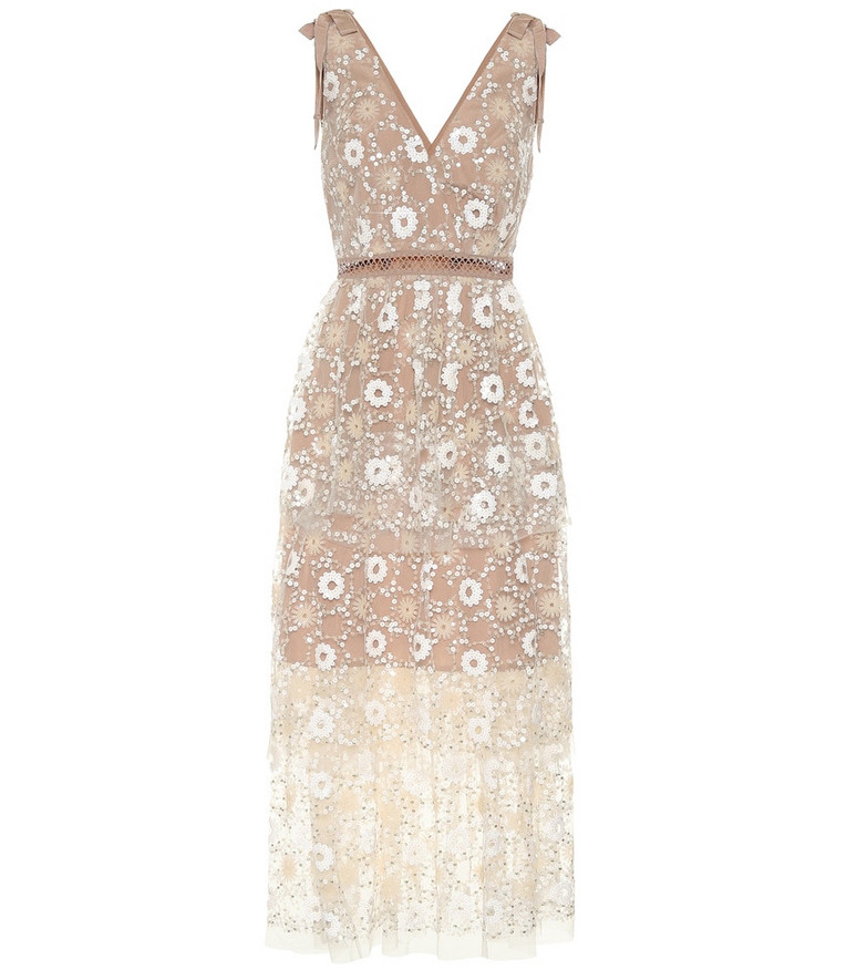 Self-Portrait Sequined tulle midi dress in beige