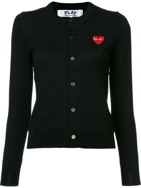 Comme Des Garçons Play heart patch cardigan in black