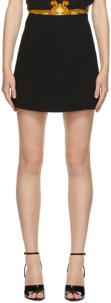 Versace Black Satin Miniskirt