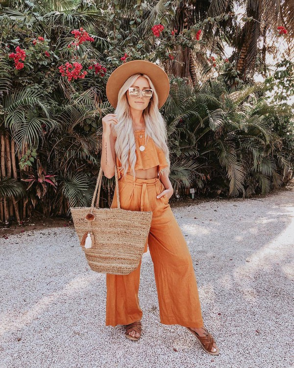 pants wide-leg pants high waisted pants crop tops sleeveless orange shoulder bag slide shoes hat