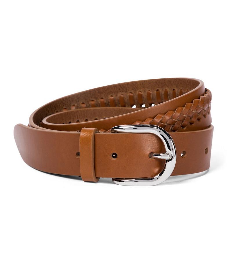 Isabel Marant Zadi braided leather belt in brown