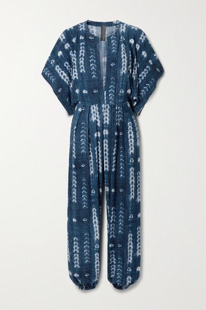 Norma Kamali - Tie-dyed Stretch-jersey Jumpsuit - Blue