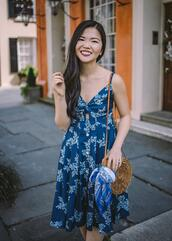 skirttherules,blogger,dress,bag,shoes,spring outfits,blue dress,round bag