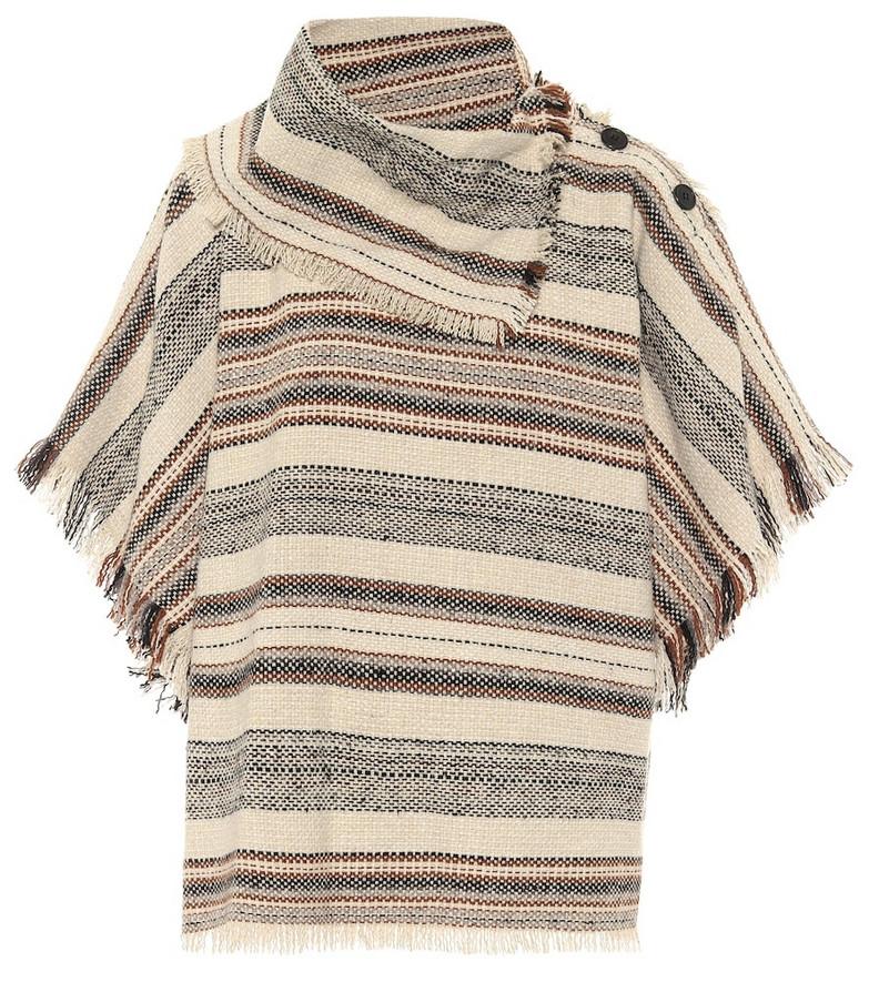 Isabel Marant, Étoile Jacoya striped tweed poncho in beige