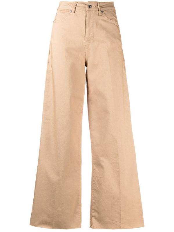 LIU JO raw-cut edge flared trousers in neutrals