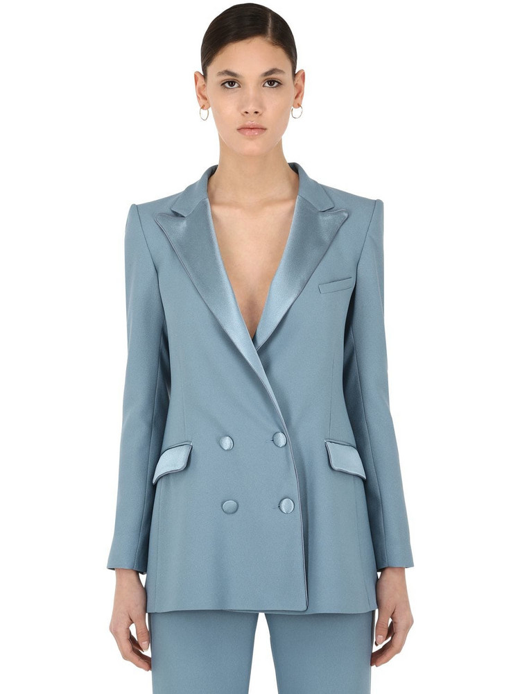 HEBE STUDIO Bianca Viscose Cady Blazer in blue