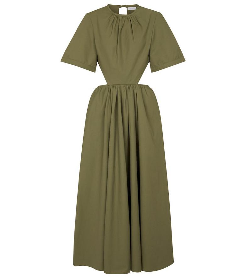 Deveaux New York Cut-out poplin midi dress in green