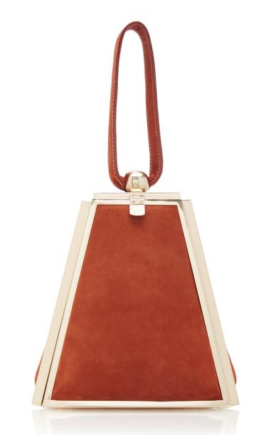 Cult Gaia Trina Suede Wristlet Bag in orange