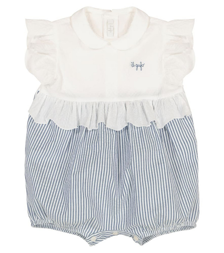 Il Gufo Baby striped cotton playsuit in blue