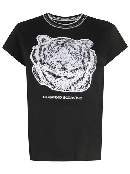 Ermanno Scervino tiger-motif rhinestone T-Shirt in black