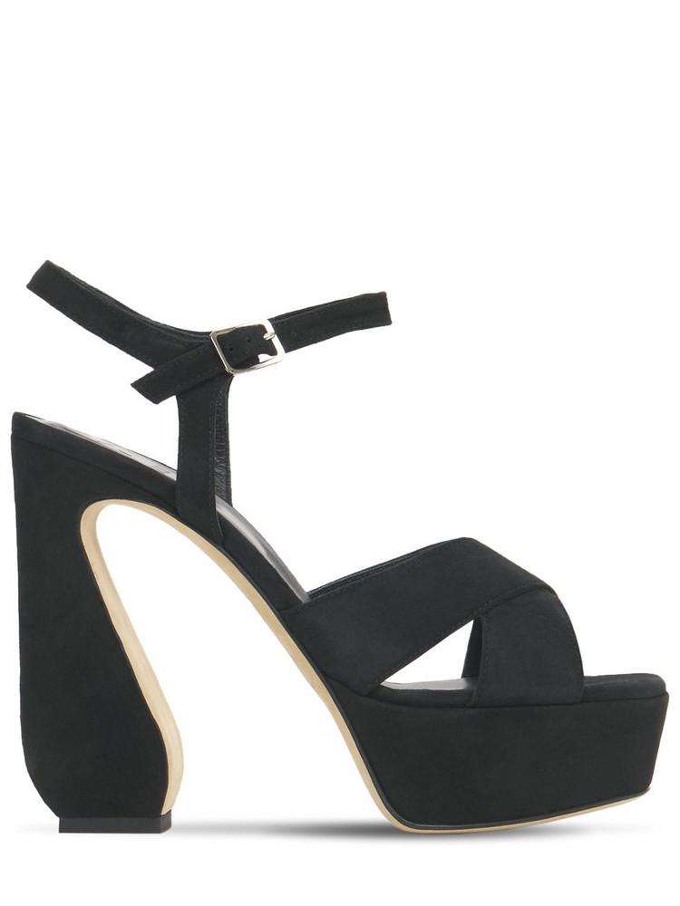 SI ROSSI 125mm Platform Suede Sandals in black