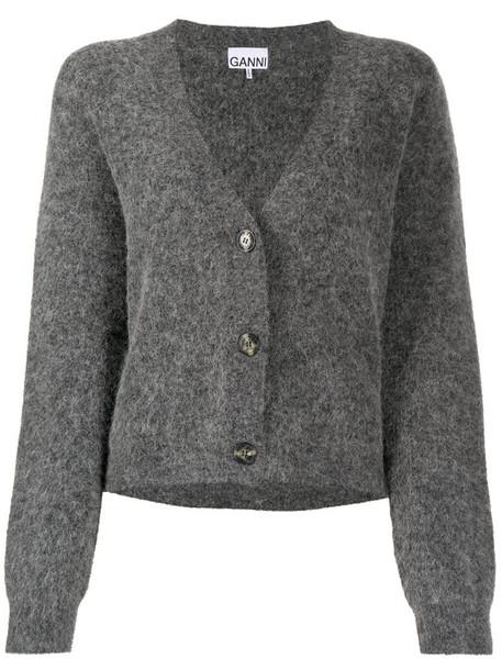 GANNI button-front cardigan in grey
