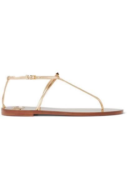 Valentino - Valentino Garavani The Rockstud Nude Embellished Metallic Leather Sandals - Gold