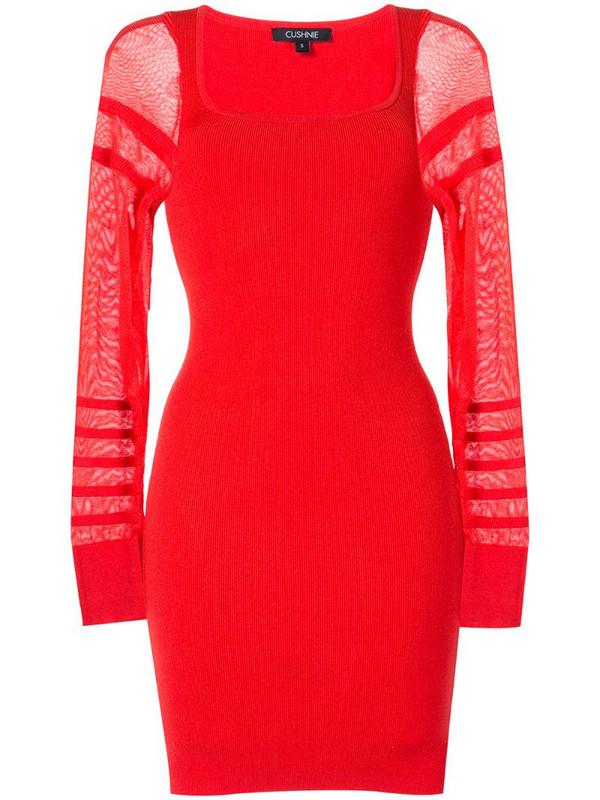 Cushnie sheer-sleeve mini dress in red