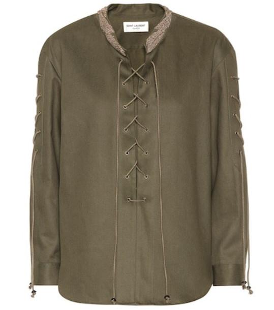 Saint Laurent Cotton-blend top in green