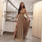 dress,prom dress,nude dress,long sleeve dress,gold dress,silk dress