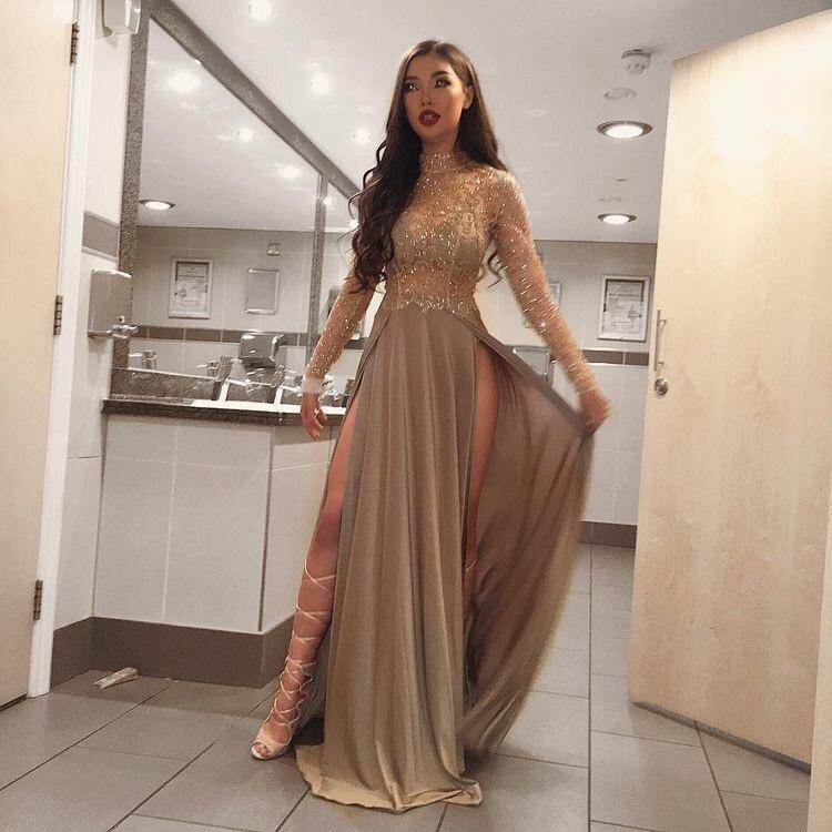 dress prom dress nude dress long sleeve dress gold dress silk dress