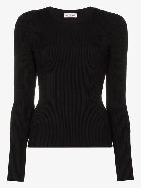 Balenciaga ribbed top in black