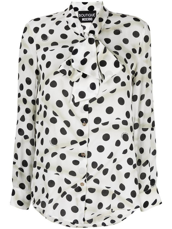 Boutique Moschino polka dot bow tie shirt in white