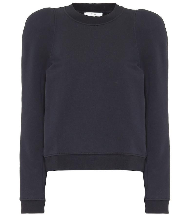 Tibi Cotton-blend sweatshirt in blue