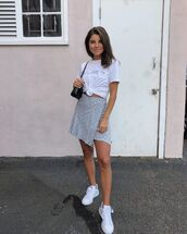 shoes,white sneakers,mini skirt,wrap skirt,white t-shirt,black bag