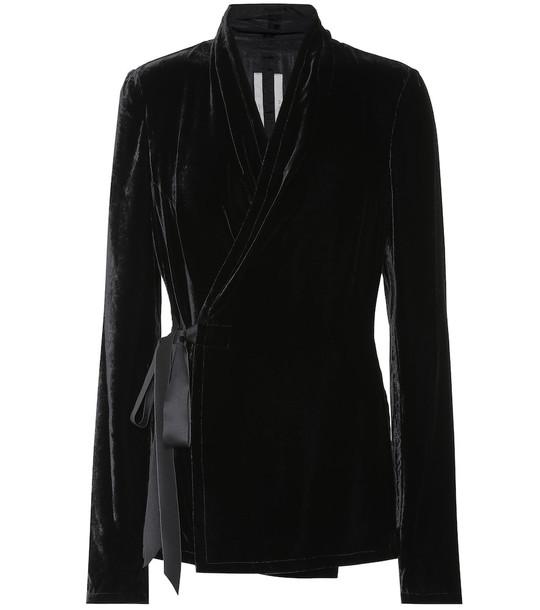 Rick Owens Silk-blend velvet top in black