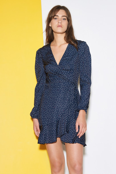 THE FIFTH ROOFTOP POLKA DOT LONG SLEEVE DRESS navy w white