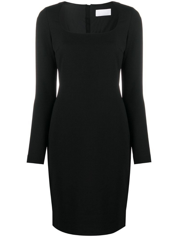 BOSS Dineka fitted long-sleeved midi dress in black