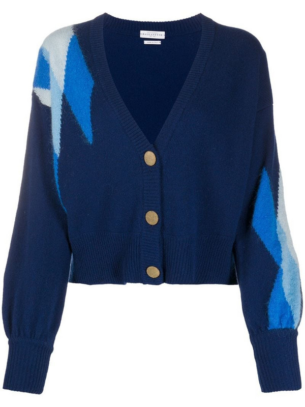 Ballantyne Argyle-detail cardigan in blue
