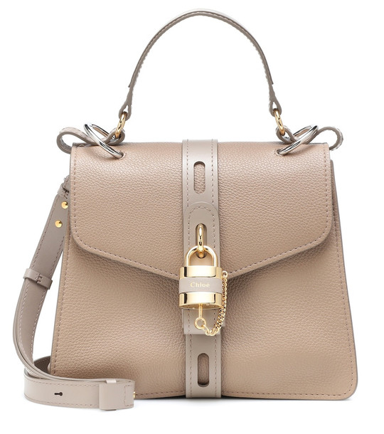 Chloé Aby Medium leather shoulder bag in grey