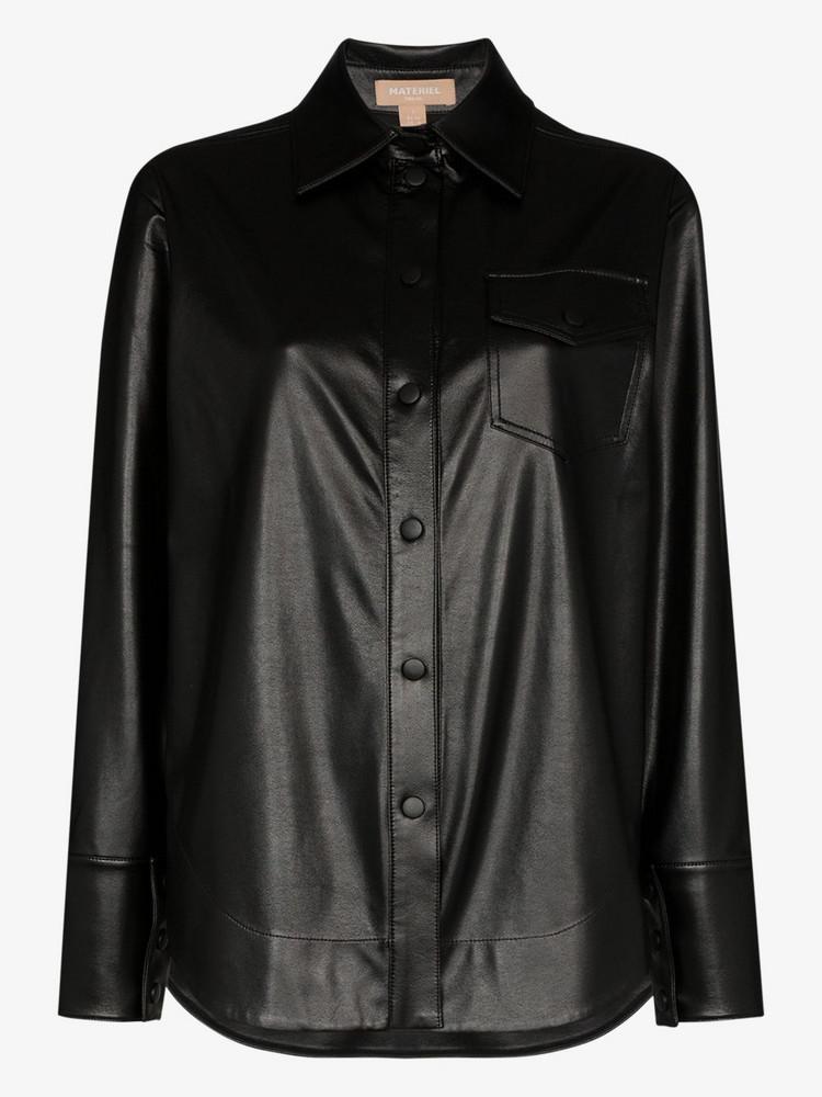 Matériel faux leather shirt in black