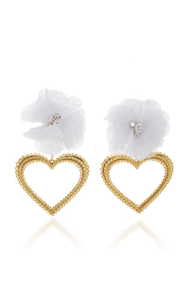 Mallarino Margot 24K Gold Vermeil, Silk and Crystal Earrings in white
