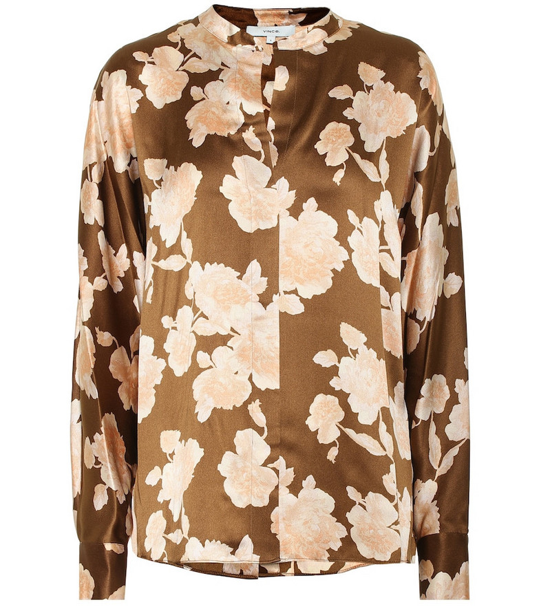 Vince Floral silk satin blouse in brown