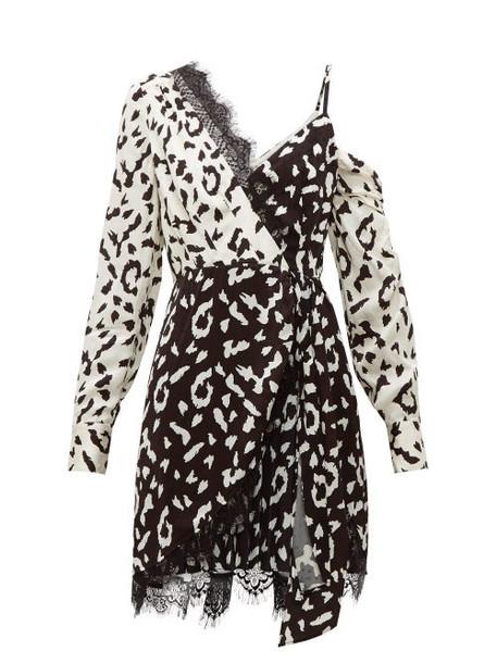 Self-portrait - Leopard Print Asymmetric Satin Mini Dress - Womens - Black White