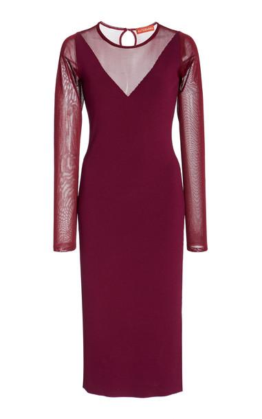 Altuzarra Long-Sleeved Sheer Insert Dress in burgundy
