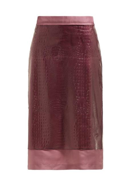 Sies Marjan - Sula Crocodile Effect Midi Skirt - Womens - Purple