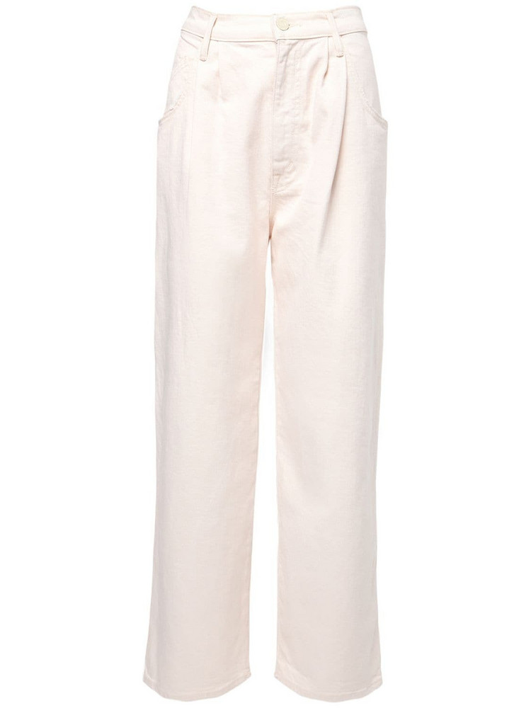 MOTHER Hlf Spring Pleated Greaser Ankle Jeans in ivory