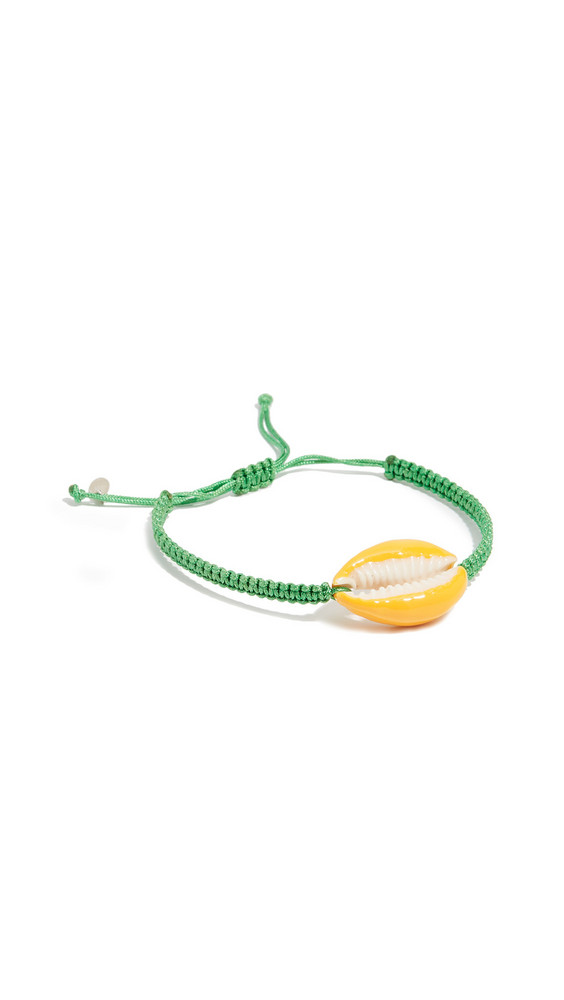 Maison Irem Pino Colored Shell Macrame Bracelet in green / yellow