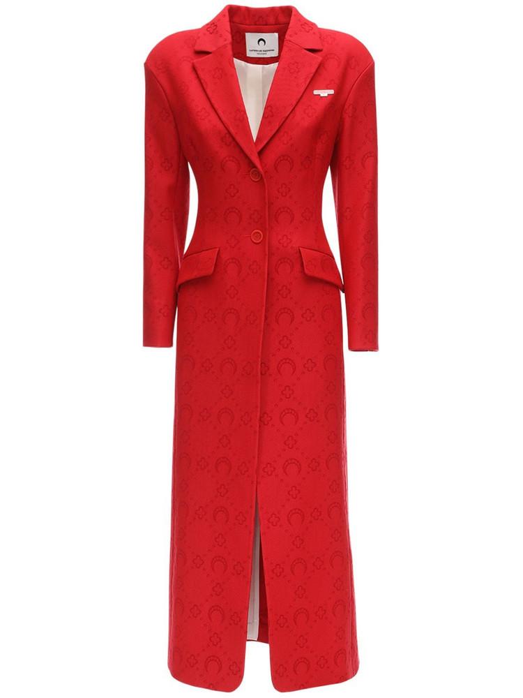 MARINE SERRE Monogram Jacquard Wool Long Coat in red