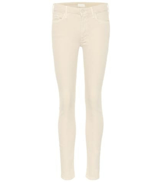 Mother Looker mid-rise skinny jeans in white